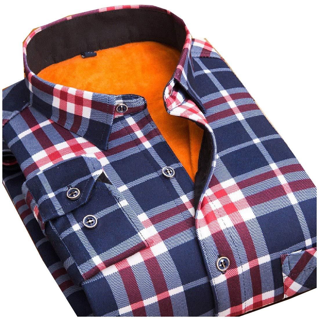 YUNY Men Turn-Down Collar Long-Sleeve Button Print Thicken T-Shirts Shirts AS5 XL