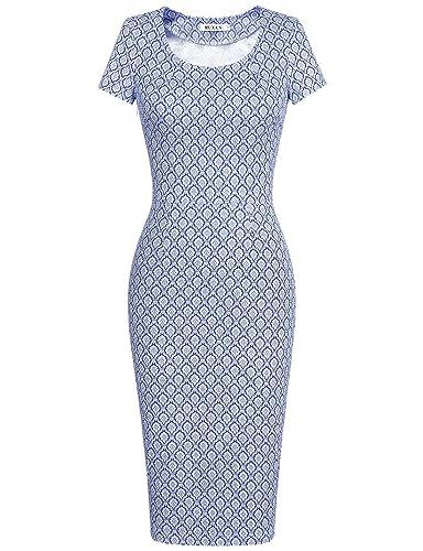 MUXXN Women's 50s Vintage Chic Short Sleeve Casual Pencil Dress
