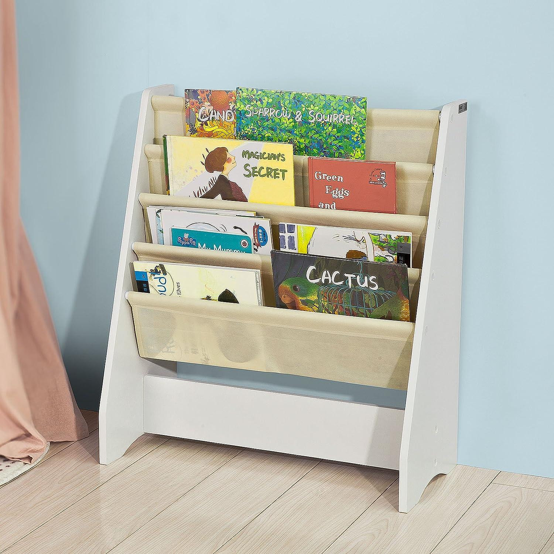 SoBuy FRG225-W, Children Kids Bookcase Book Shelf Sling Storage Rack Organizer Display Holder