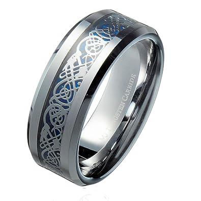 MJ 8mm Blue Celtic Dragon Mens Womens Tungsten Carbide Wedding
