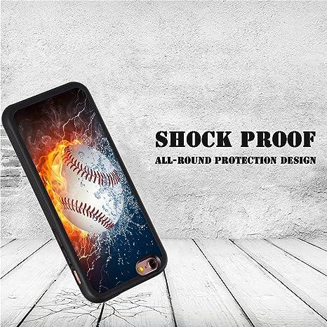 iPhone 6 Coque, iPhone 6s Coque, gravure de Bwooll Baseball Fire ...