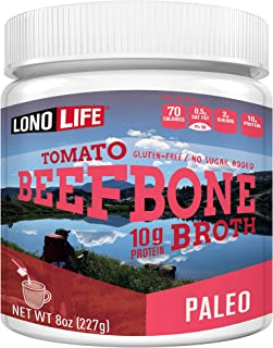 product image for LonoLife Grass-Fed Tomato Beef Bone Broth Powder with 10g Protein, Paleo and Keto Friendly, 8-Ounce Bulk Container