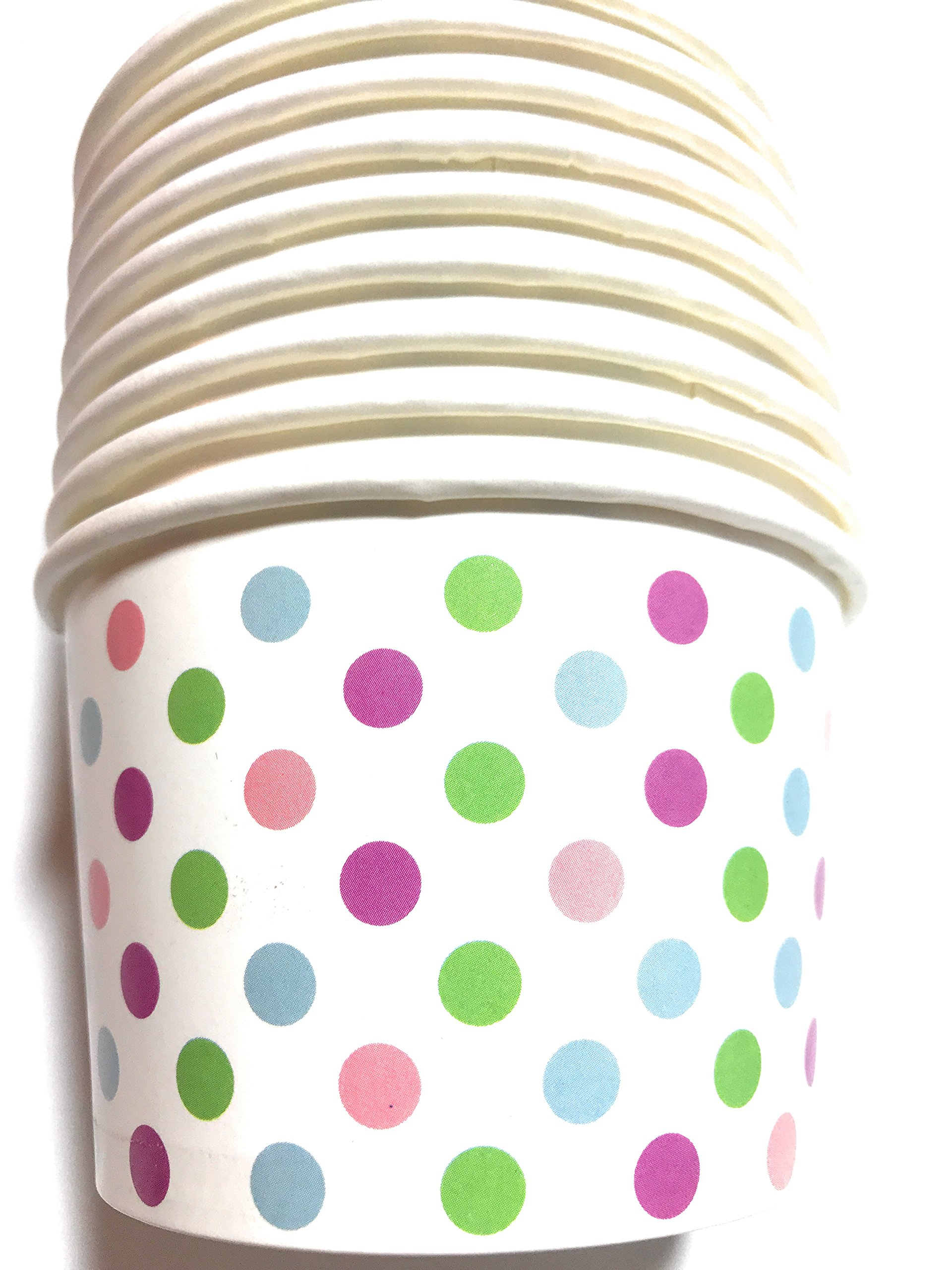 Paper Ice Cream Cups - Pastel Dots - 50 Count