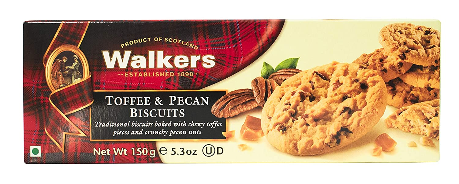WALKERS Biscuits, Toffee and Pecan, 150G in lowest price