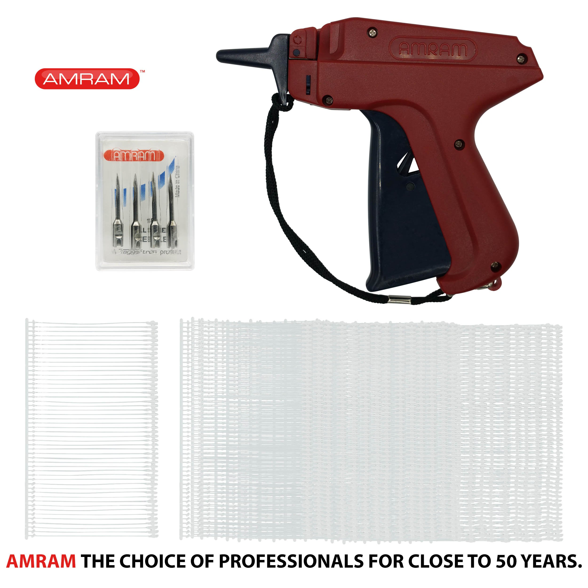 Amram Tagger Standard Tag Attaching Tagging Gun BONUS KIT with 5 Needles and 1250 2'' Standard Attachments Fasteners