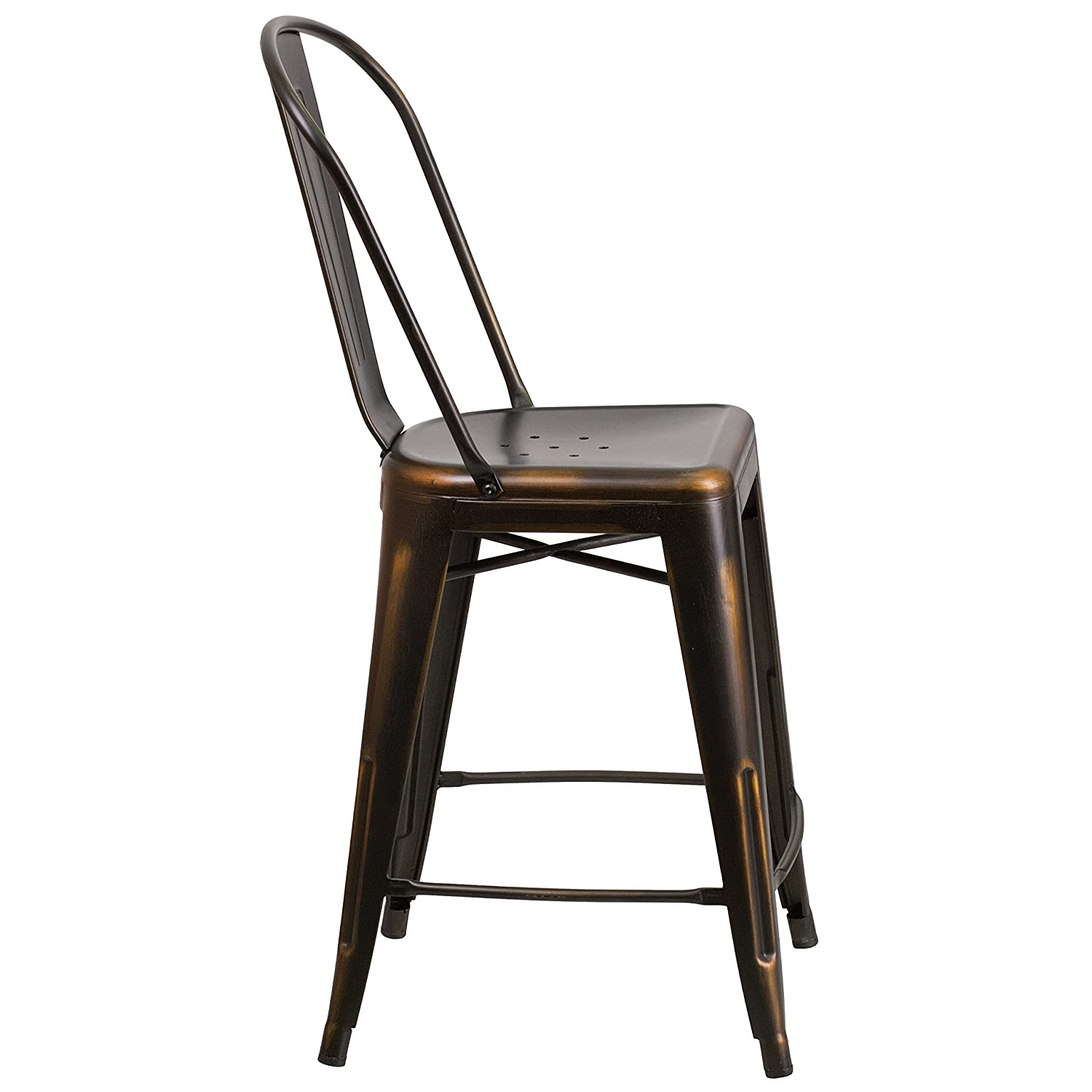 Amazon.com: Flash Furniture 24u0027u0027 High Distressed Copper Metal  Indoor Outdoor Counter Height Stool With Back: Kitchen U0026 Dining