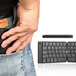 Foldable Bluetooth Keyboard in Portable Pocket Size Compatible iOS Android Windows Mac Smartphone Tablet (Black)