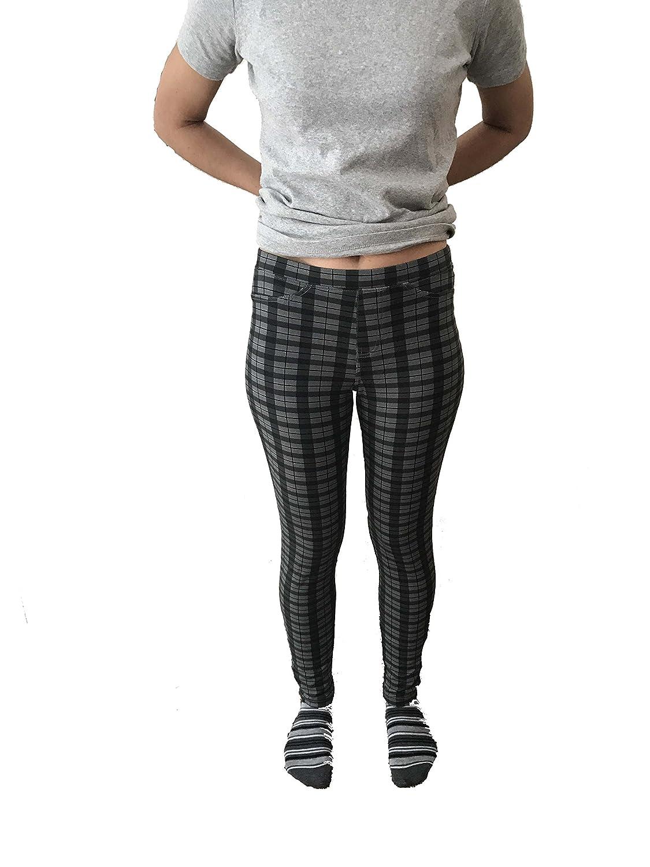 0f255ab0ff4c9 No Nonsense Women's Denim Leggings Grey Tonal Plaid [4AXvc0706275 ...