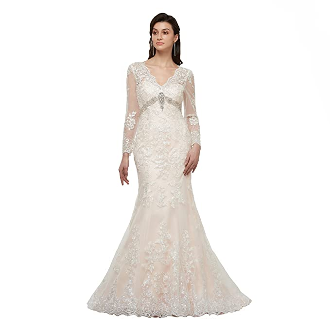 Lover Kiss Appliques Lace Wedding Dress With Long Sleeves