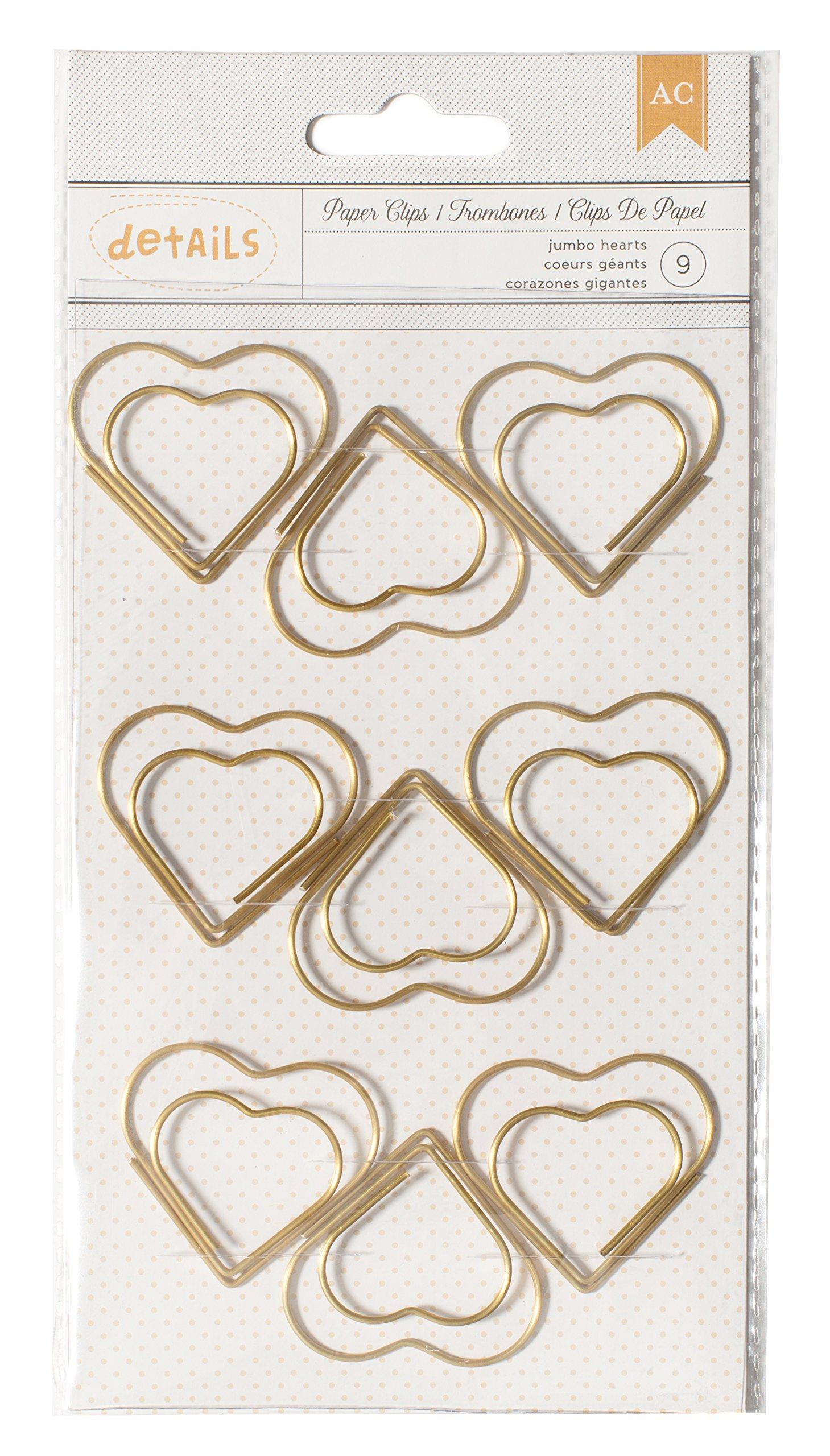 American Crafts 9 Piece Designer Desktop Heart Jumbo Paper Clips 2