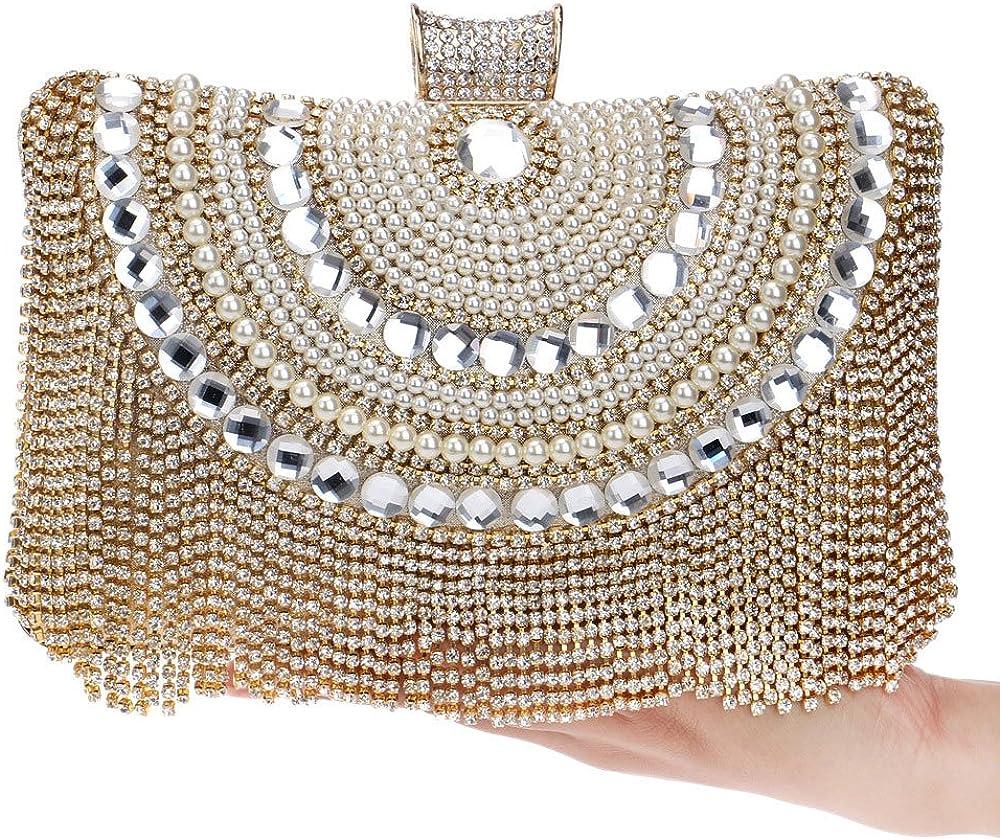 ZAKIA Women Glittering Crystasl Tassel Evening Handbag Clutch Rhinestone Ring Wedding Party Bag Purse