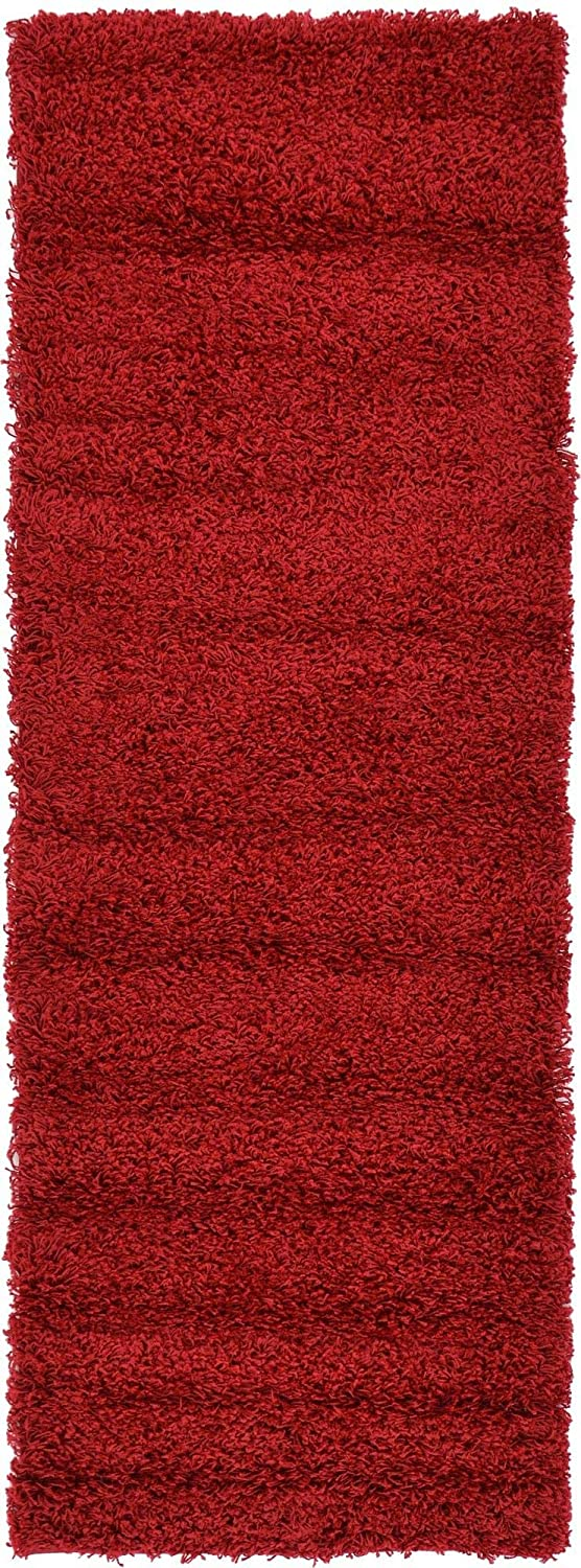 Unique Loom Solo Solid Shag Collection Modern Plush Cherry Red Runner Rug (2' 2 x 6' 5)