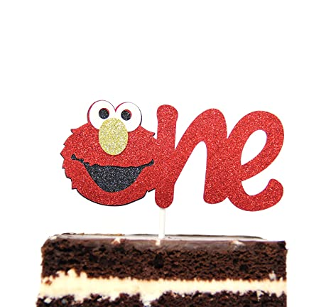 Elmo Inspired One Year Birthday Cake Topper Decoration Sesame Street