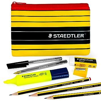 Juego de Staedtler Noris con bolígrafos 430M, lápices 120, subrayador, goma de borrar, sacapuntas y estuche