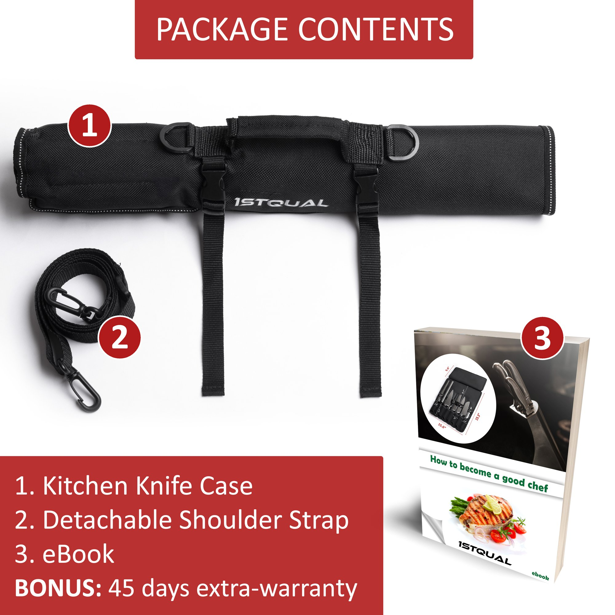 Chef Knife Bag (8 slots) – Durable and Waterproof Culinary Roll Case Utensil With Shoulder Strap and Holder – Knives Organizer For Chefs and Students + eBook Bonus + Extra-Warranty by 1stqual by 1stqual (Image #7)