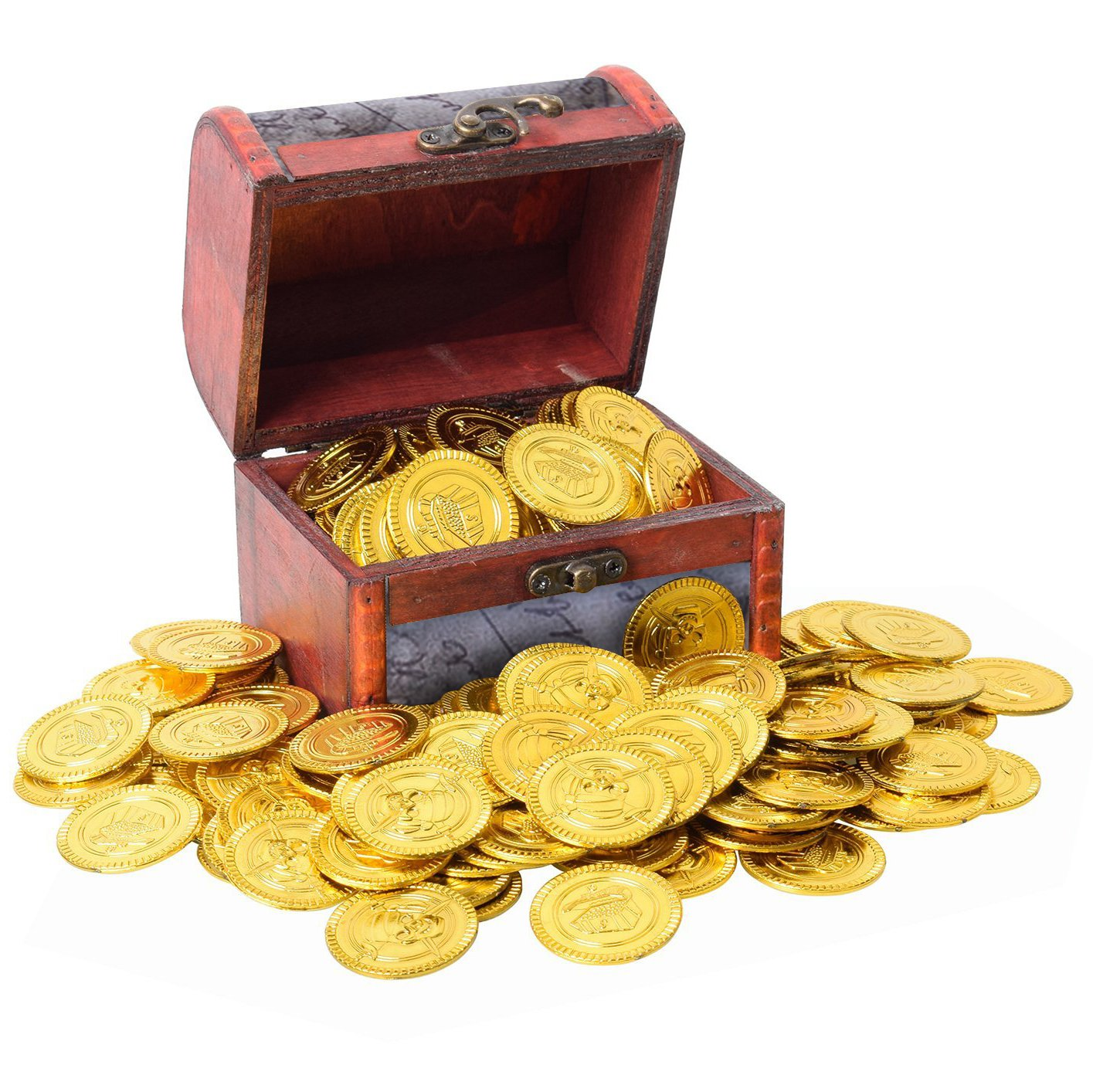 PartyYeah 100 Pcs Pirate Vintage Plastic Fake Gold Coins & Pirate Vintage Treasure Box Chest for Kids Hunt Play Party Favors (Dark Gold, Coins+Box)