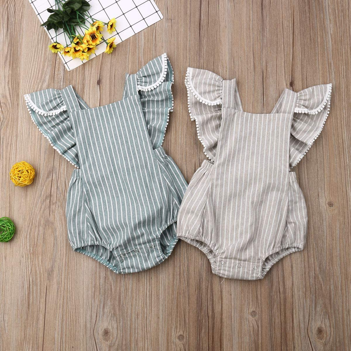 TSEXIEFOOFU Newborn Baby Boy Girl Cotton Line Sleeveless Straps Bodysuit Romper Jumpsuit Outfits Long Sleeve Clothes
