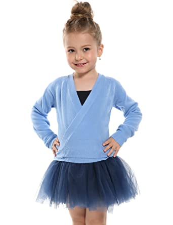 f220d32996e6d Amazon.com: Arshiner Girls Classic Ballet Wrap Top Long Sleeve Dance ...