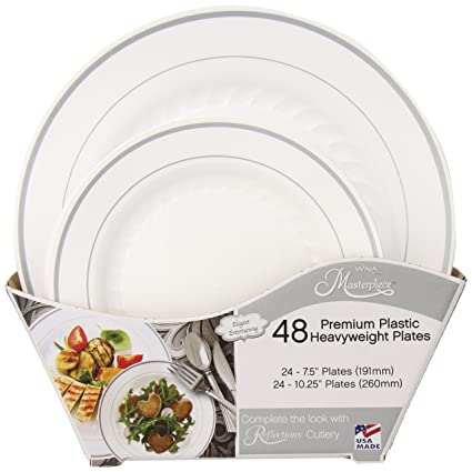 Masterpiece Plastic Plate Combo Pack Large and Small 48 Count  sc 1 st  Amazon.com : sams plastic plates - pezcame.com