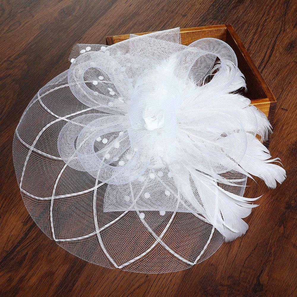 Fascinator Hat Mesh Flower Headwear – AWAYTR Tea Party Hats for Woman Mesh Derby Church Cap by AWAYTR (Image #7)