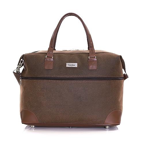 Karabar Berwyn Leather Style Travel Carry On Cabin Hand Luggage Weekend Bag  55 cm 800 Grams efa646602436b
