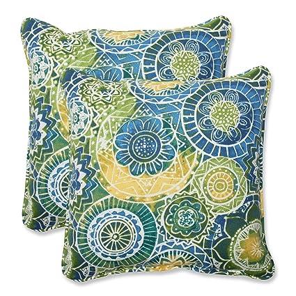 Yellow Outdoor Throw Pillows.Amazon Com Set Of 2 Laguna Mosaico Blue Green And Yellow