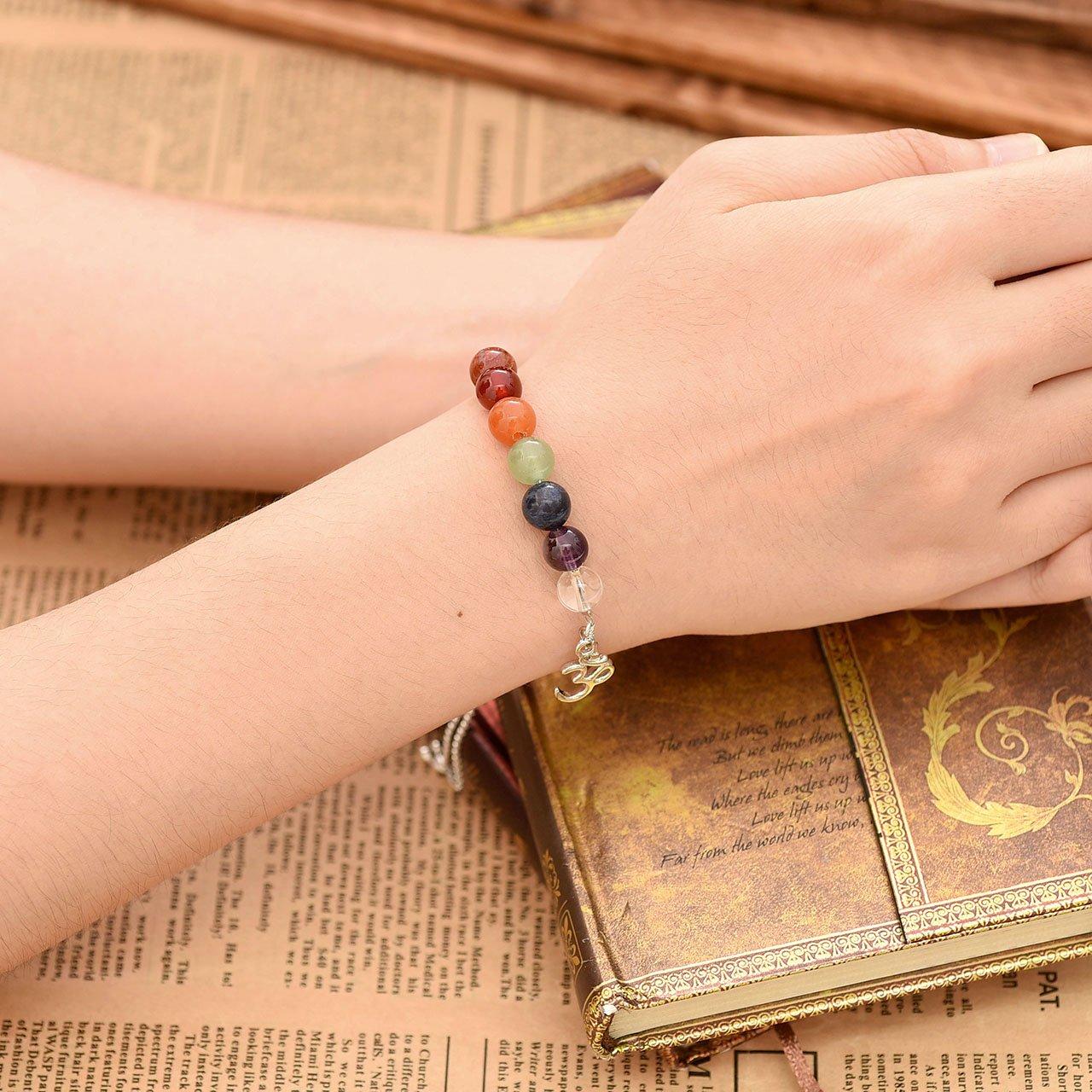 Jovivi 8mm-7 Chakra Pierres Perles d\'Energie Bracelet Réglable Alliage Tibétain Bouddhiste avec Pendentif Symbole OM