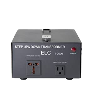 ELC T-3000UD T-3000+ 3000-Watt Voltage Converter Transformer - Step Up/Down - 110V/220V - Circuit Breaker Protection Heavy Duty