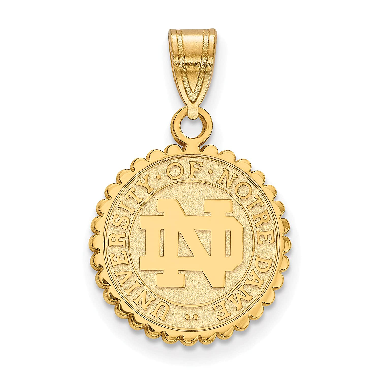 University of Notre Dame Fighting Irish School Seal Pendant in Gold Plated Sterling Silver 16x15mm