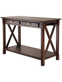winsome wood xola console table cappuccino finish