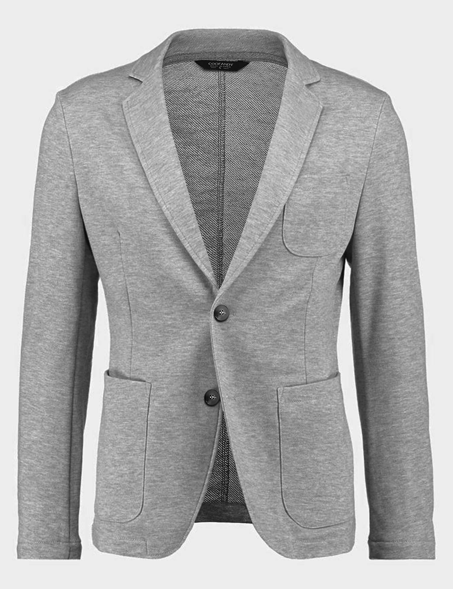 JINIDU Men's Blazer Jacket Casual Two Button Notched Lapel Lightweight Blazer Coat