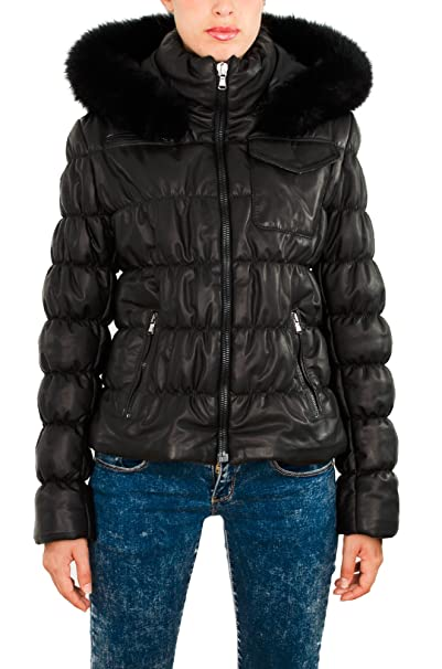 Pellein - Abajo en cuero, abrigo de mujer invernal - modelo Trieste. negro 34