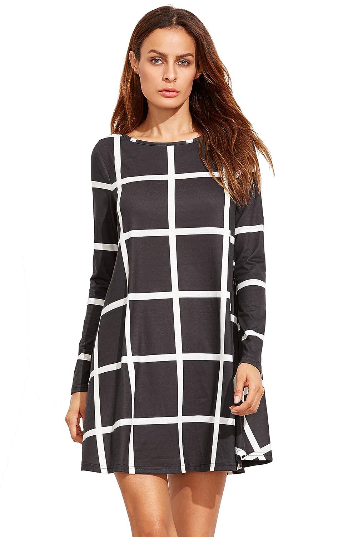 Black SheIn Women's Grid Check Print Long Sleeve Swing Dress