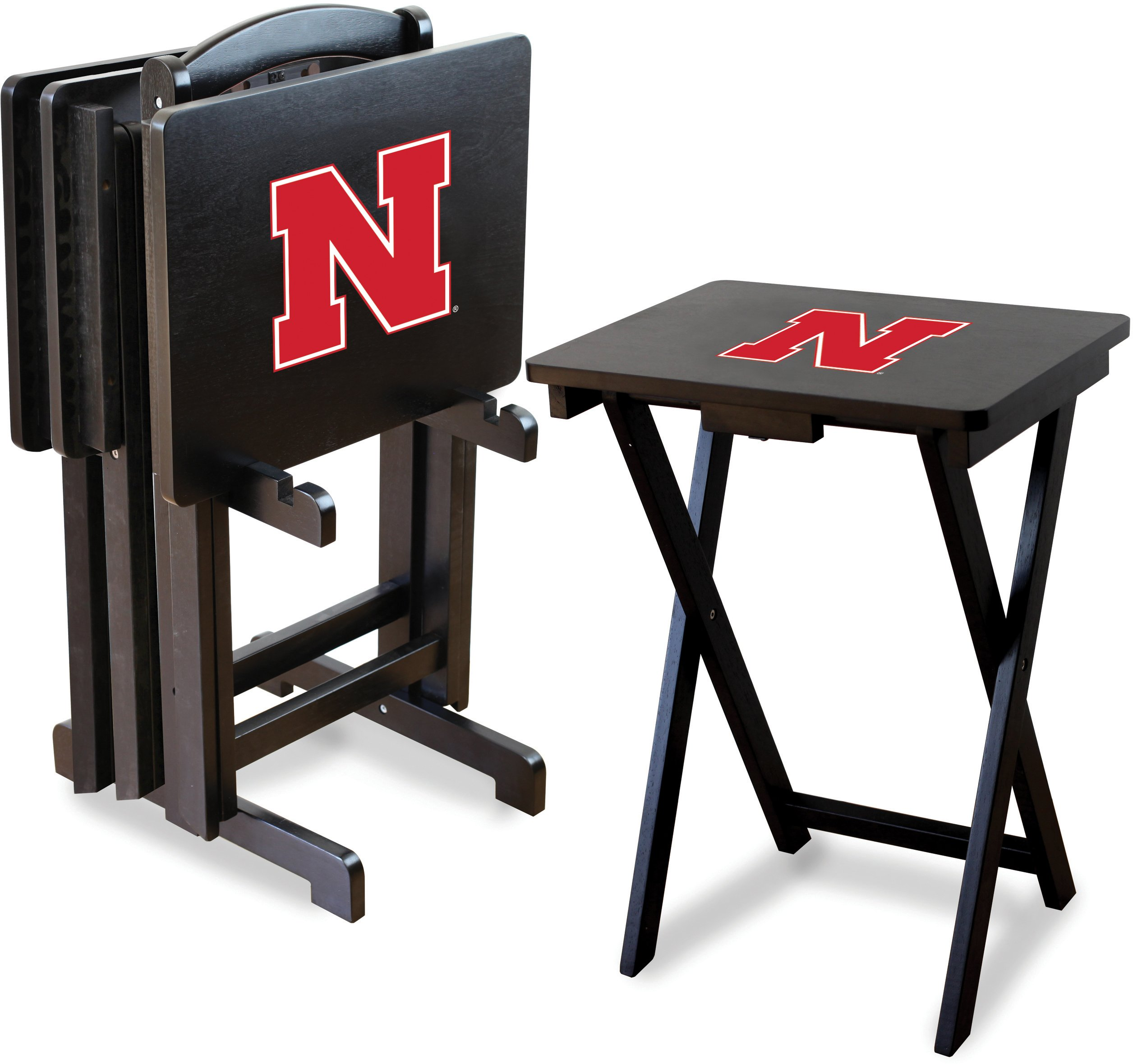 Imperial Officially Licensed NCAA Merchandise: Foldable Wood TV Tray Table Set with Stand, Nebraska Cornhuskers by Imperial
