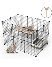 Youke Pet Playpen Includes Cable Ties, Metal Wire Apartment-Style Two-Storey Bunny Fence and Kennel, for Guinea Pigs, Bunnies, Rabbits,Puppies, 24 Panels