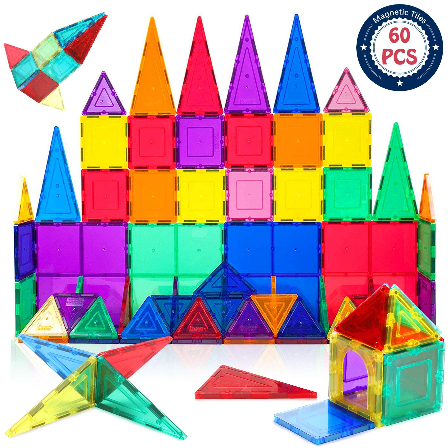 HOMOFY Magnet TilesToys 60Pcs Oversize 3D Magnetic Building Blocks Tiles Set,Inspirational Educational Toys for 3+ Year Old Boys Gilrs Gifts by HOMOFY