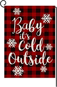 LANMEI Christmas Garden Flag Vertical Double Sided Buffalo Plaid Baby It's Cold Outside Garden Flag, Christmas Winter Holiday Rustic Yard Outdoor Decoration 12.5 x 18 Inch
