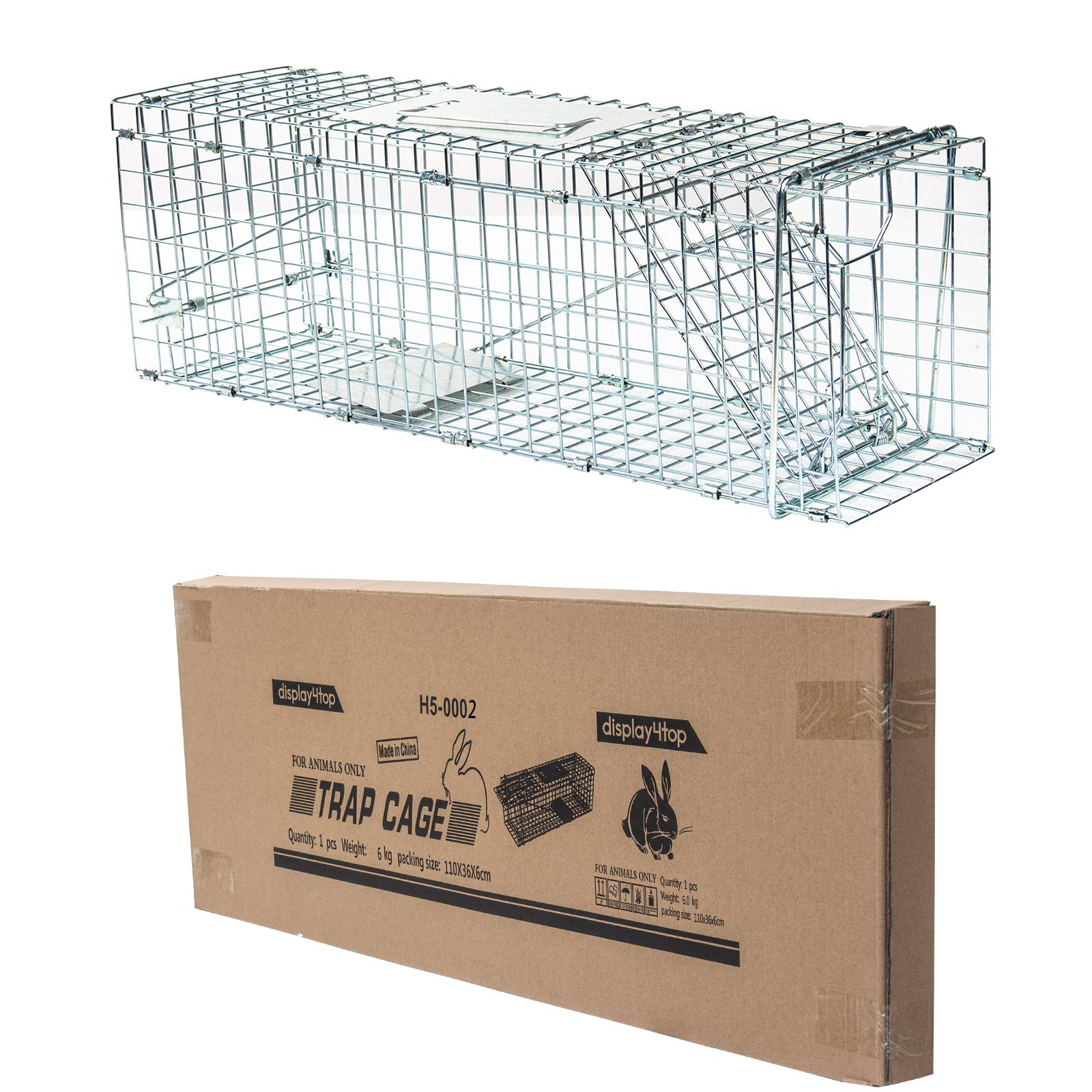 D4P Display4top Humane Live Animal Trap Cage,Catch and Rabbit,Squirrel, Raccoon (79 x 28 x 33cm)