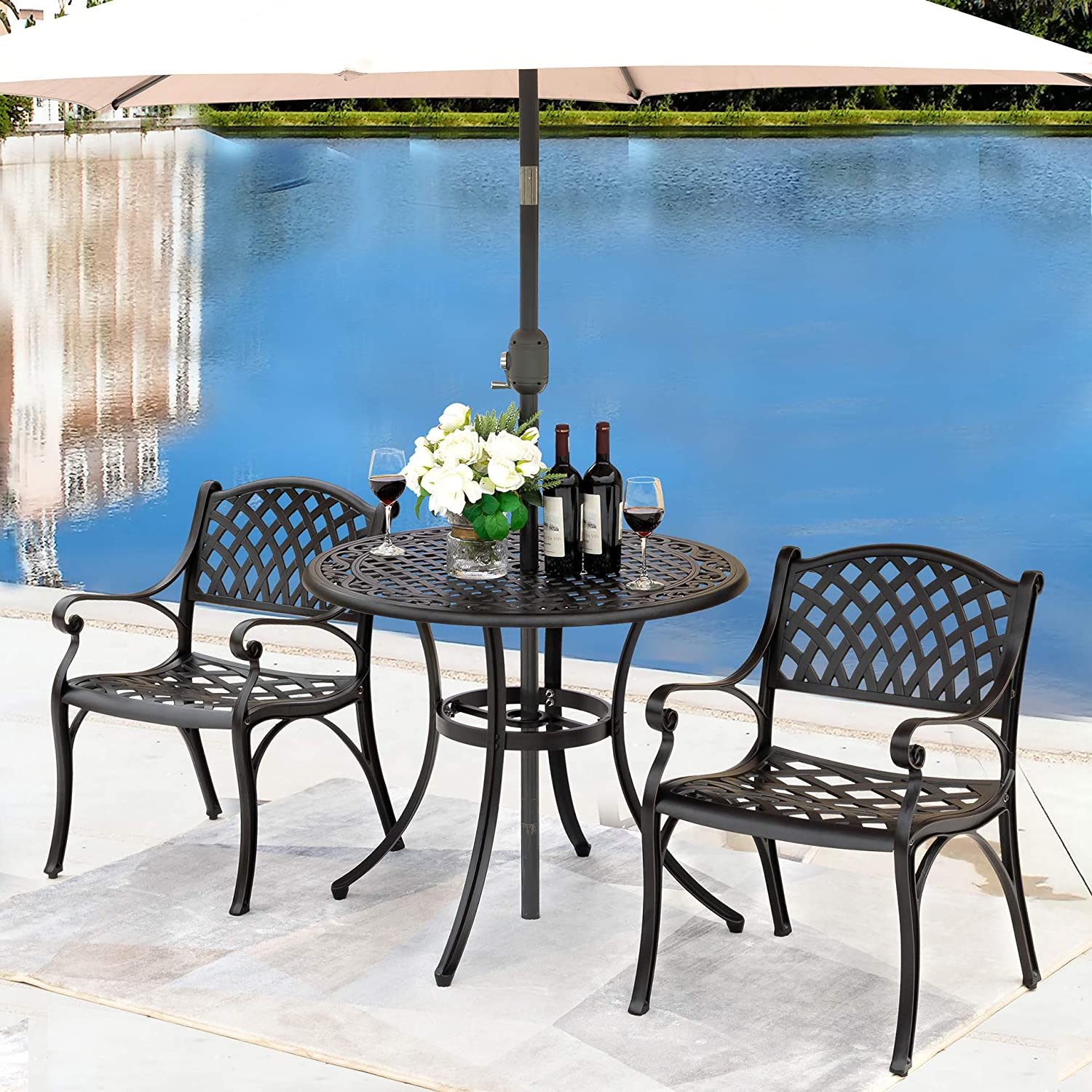 "NUU GARDEN Outdoor Patio Furniture 3 Piece Powder Coated Aluminum Dining Set with 36"" Round Table and 2 Arm Chairs, Black"