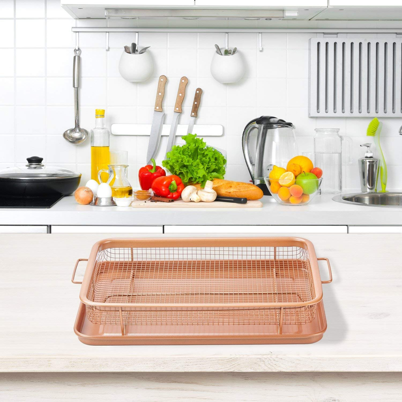 Copper Crisper - Sartén antiadherente para horno de 2 piezas ...