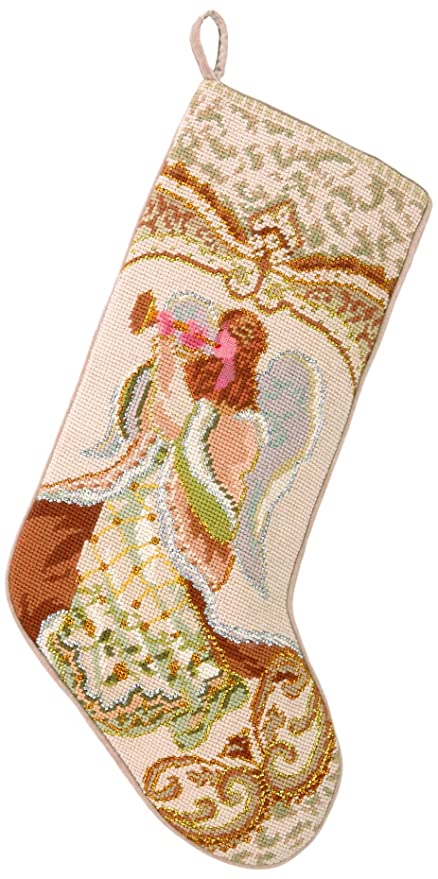 Peking Handicraft 31GY258MC Angel with Horn Needlepoint Stocking, 11x18
