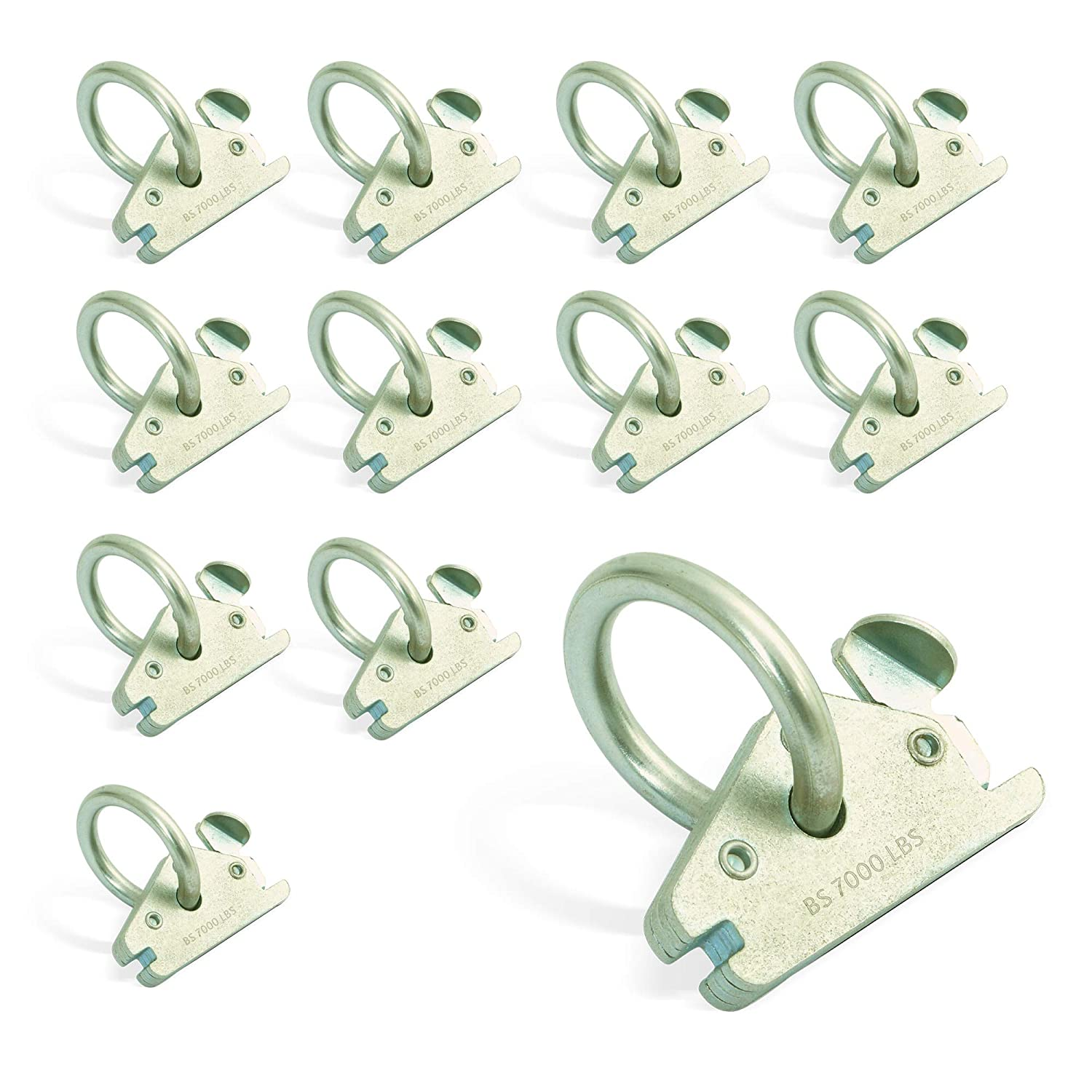 Robust Rustproof E-Tracks Hooks for Ratchet Straps AFA Tooling E Track O Ring Tie Down Anchors 12-Pack Motorcycle Tie Downs /& Equipment 7.000lbs BS Stainless Steel E Track Tie Downs Accessories
