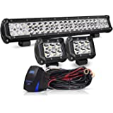 20 Inch LED Light Bar 126W Spot Flood Combo LED Bar 2PCS 4Inch Spot Pods Cubes with Rocker Switch Wiring Harness for Ford Pol