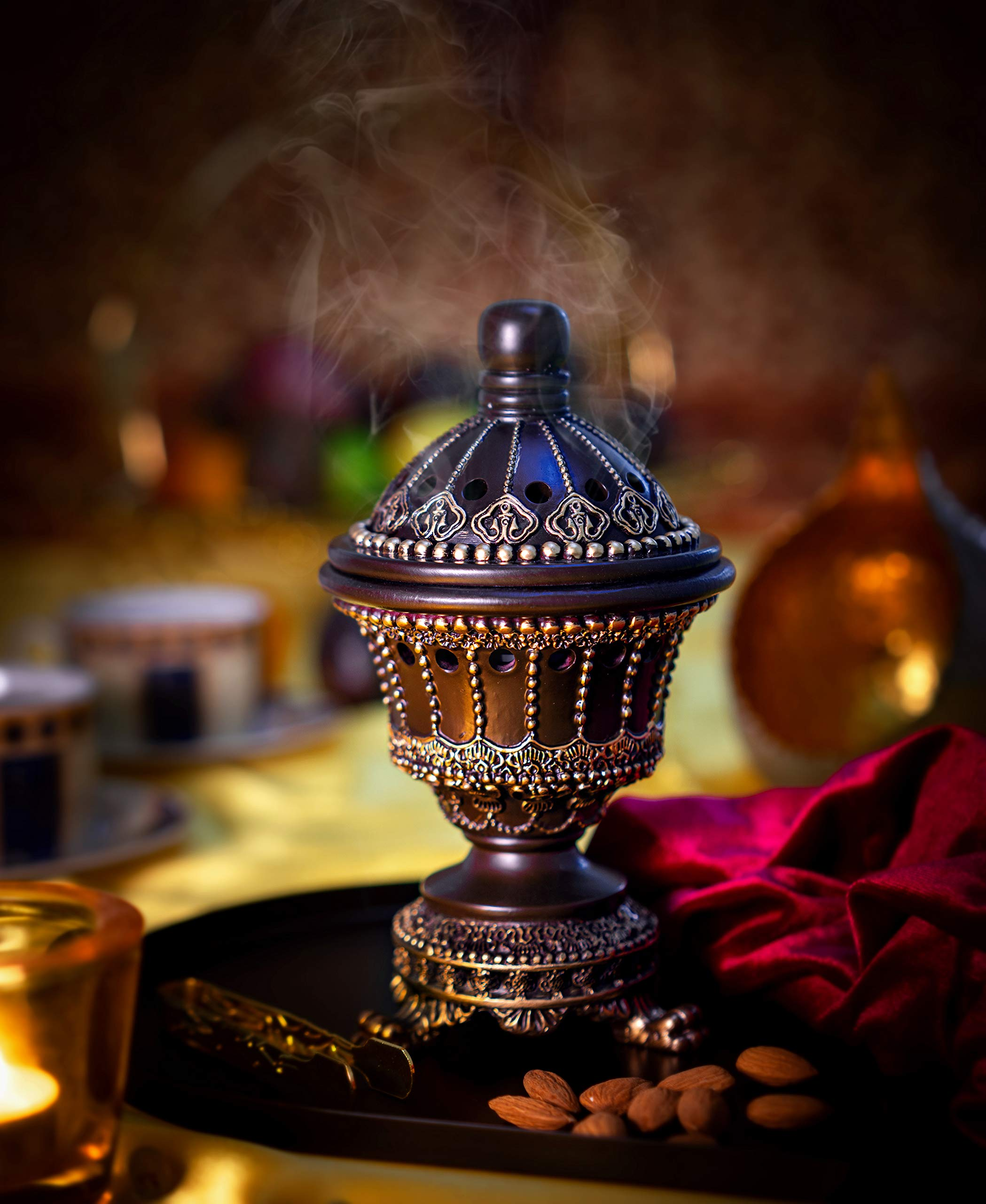 Incense Burner Bakhoor Burner (Chalice, Brown) by AM (Image #4)