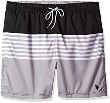 5e3965b1b5 U.S. Polo Assn. Men's Big-Tall Striped Color Block Swim Short at ...
