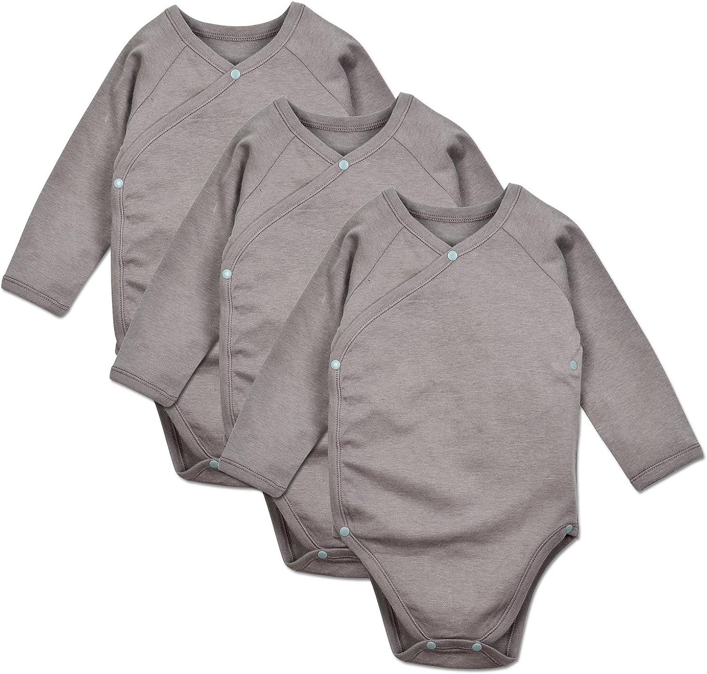 Dordor & Gorgor Baby Kimono Onesies, Organic Cotton (5M, Gray) 5PCS