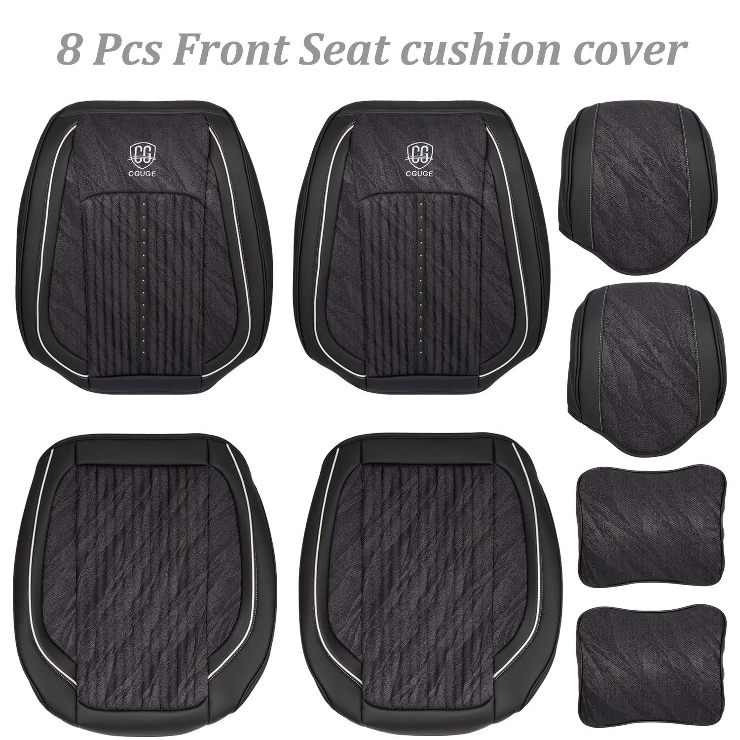 Beige Danti 15 PCS Universal Full Set PU Leather Front and Rear Car Seat Cushion Cover Seat Pad Protector Suitable for All Years Use