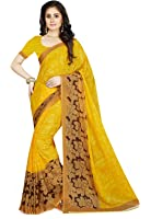 Ishin Women's Faux Georgette Saree With Blouse Piece (Ishinsb-Rm-8222_Yellow)