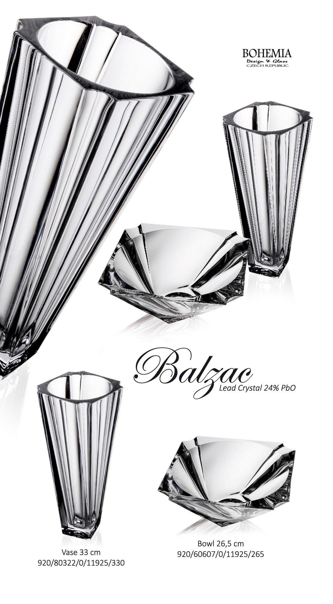 Decorative Crystal Flower Vase ''Balzac'' 13-in, Clear Elegant Centerpiece Bud