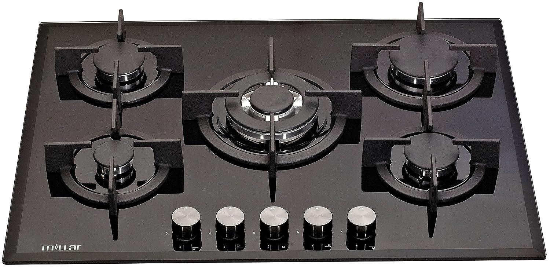 MILLAR GH7051PB 70cm 5 fornelli in vetro piano cottura a gas: Amazon ...